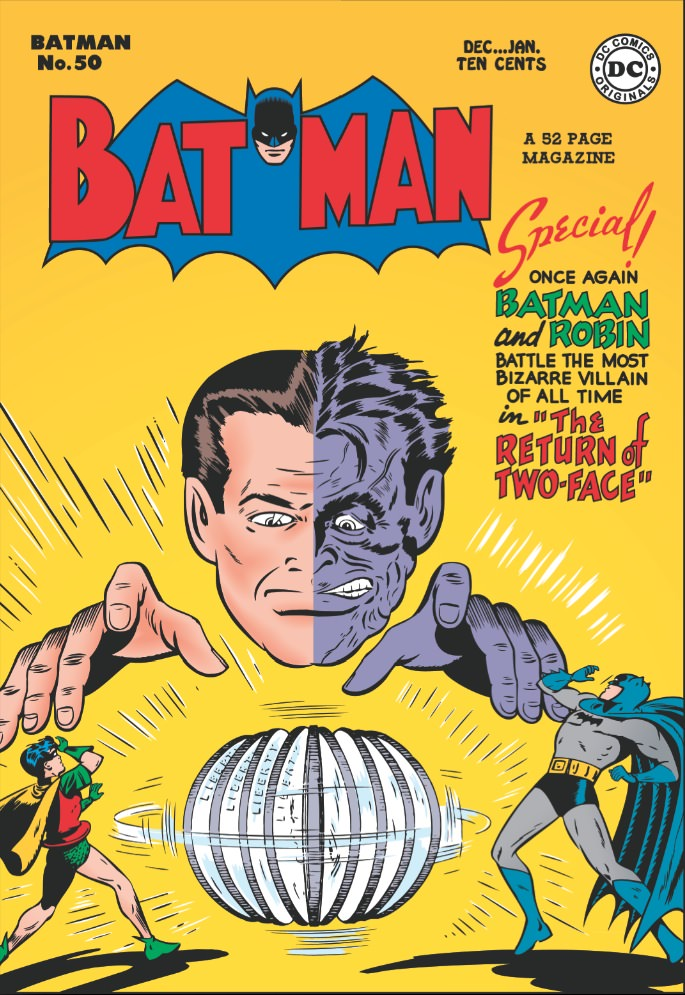 1948. Written by Bob Kane, with arch villain Two-Face.