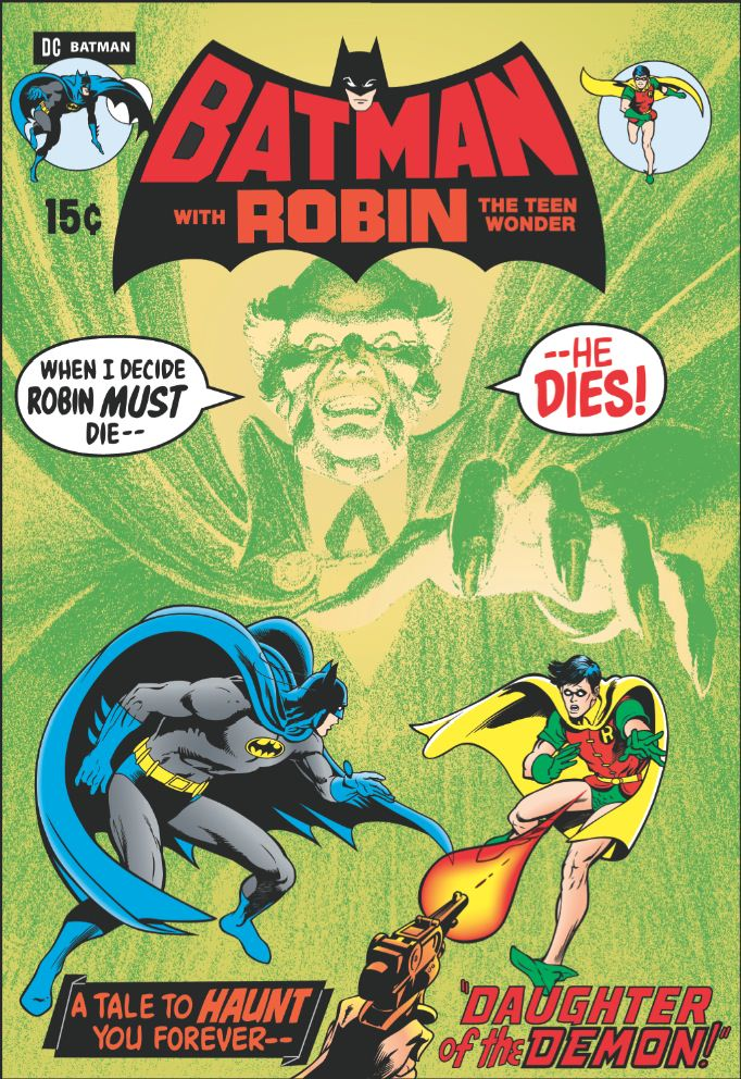 1973. Written by Neal Adam. The large green villain reaching for our heroes is Ra's al Ghul, embodied most recently by Liam Neeson in the Nolan films. Courtesy DC Comics.