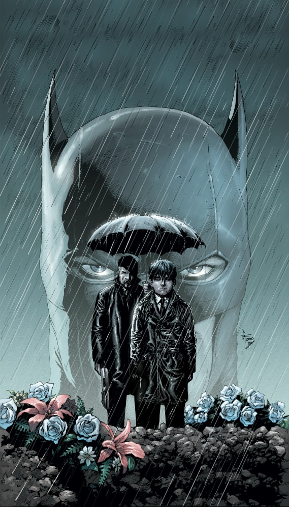2012. Written by Gary Frank, a young Bruce Wayne and Alfred visit the grave of his parents. Courtesy DC Comics.