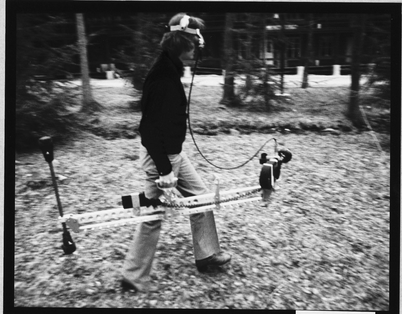 Brown with the earliest version of his steadicam. Courtesy Garrett Brown.