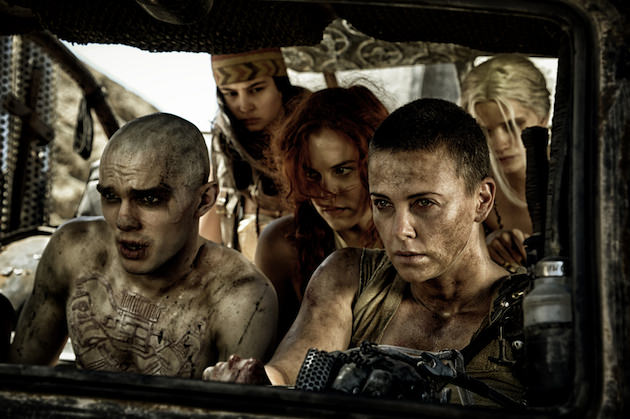 (L-r) Nicholas Hoult as Nux, Courtney Eaton as Fragile, RIley Keough as Capable & Charlize Theron as Furiosa in 'Mad Max: Fury Road.' Courtesy Warner Bros. Pictures.