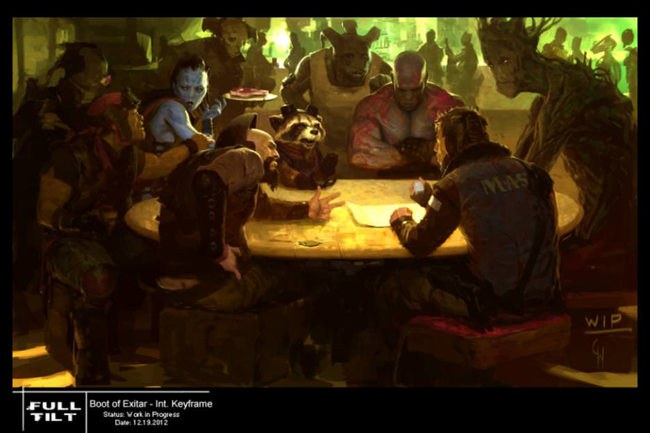 An illustration of the Guardians at the Boot of Jemiah, a bar in the mining colony of Knowhere. Courtesy Walt Disney Studios/Marvel Studios