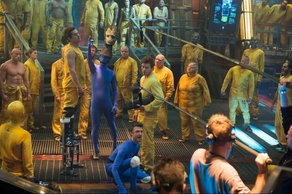 Shooting on the massive set of the space prison the Kyln. Courtesy Walt Disney Pictures/Marvel Entertainment.