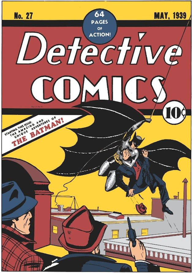 The cover of the very first appearance of 'The' Batman, May, 1939. Courtesy DC Comics.