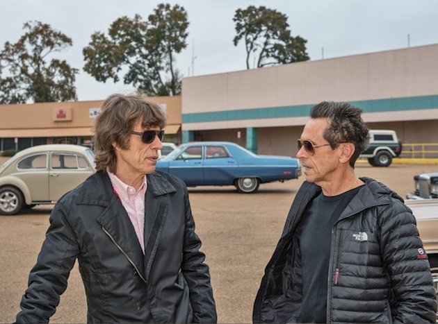Producers MICK JAGGER and BRIAN GRAZER on the set