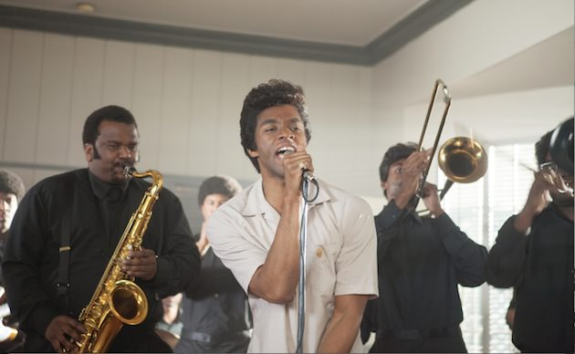 (L to R, foreground) Maceo Parker (Craig Robinson) and James Brown (Chadwick Boseman). Courtesy Universal Pictures.