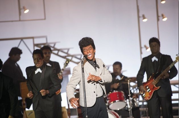 (L to R, foreground) Bobby Byrd (NELSAN ELLIS) and James Brown (CHADWICK BOSEMAN) perform on the T.A.M.I. show, right before The Rolling Stones would go on. Courtesy Universal Pictures.
