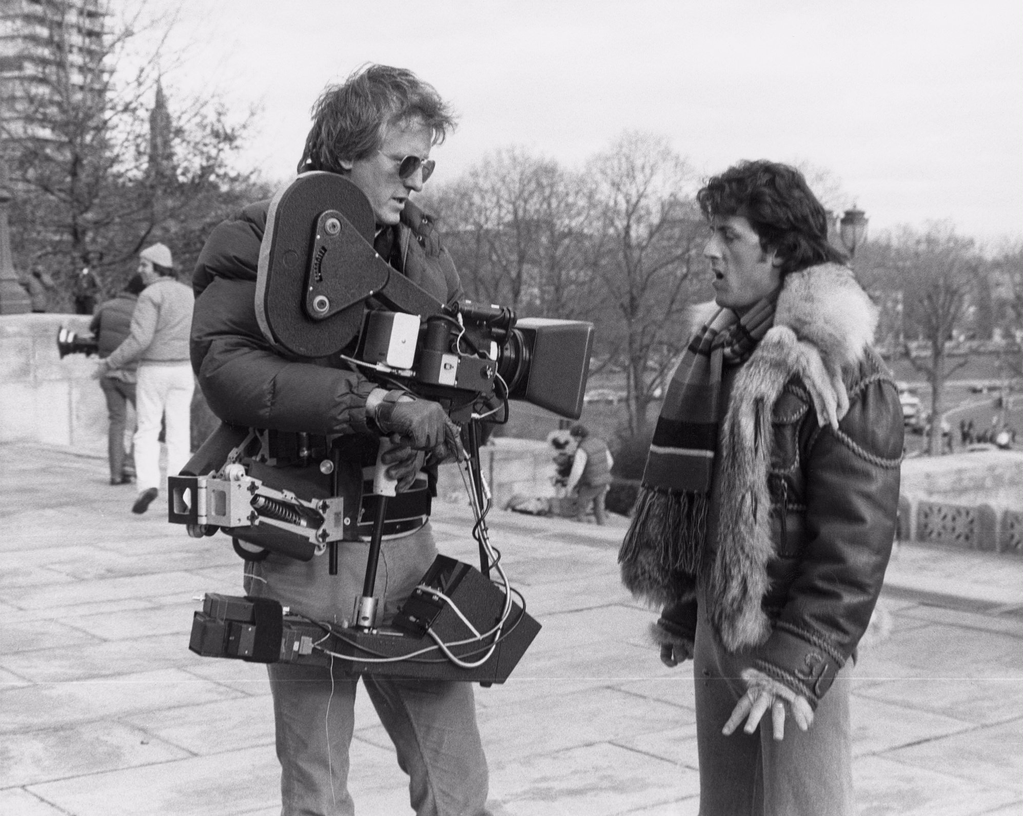 Garrett Brown and Sly Stallone on the steps of the Philadelphia Art Museum on the set of 'Rocky.' Courtesy Garrett Brown.