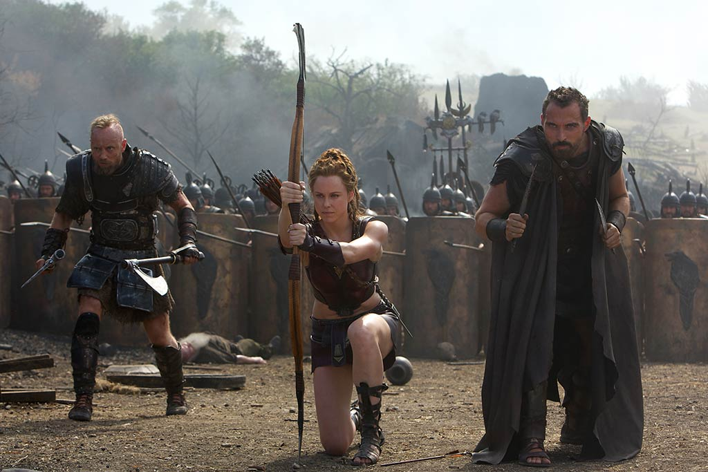 From l to r: Askel Hennie is Tydeus, Ingrid Bolsø Berdal is Atalanta, and Rufus Sewell is Autolycus. Courtesy Paramount Pictures.