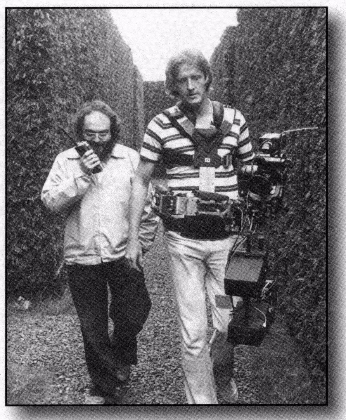 Director Stanely Kubrick (L) walks with Garrett Brown through the infamous labyrinth on the set of the 'The Shining.' Courtesy Garrett Brown