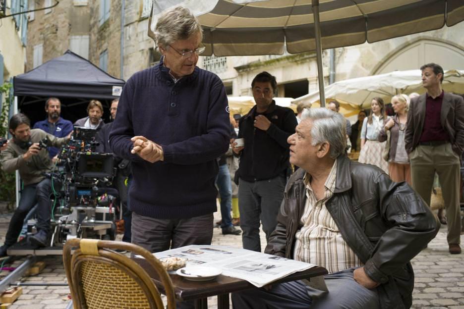 Director Lasse Hallström and actor Om Puri on the set of 'The Hundred-Foot Journey.' Courtesy Walt Disney Studios