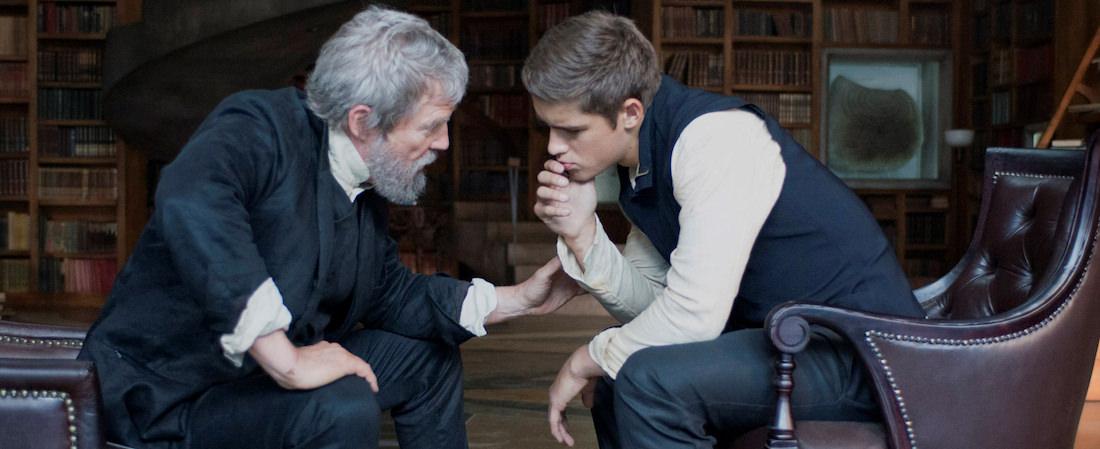Jeff Bridges is The Giver, Brenton Thwaites is Jonas. Courtesy Weinstein Co.