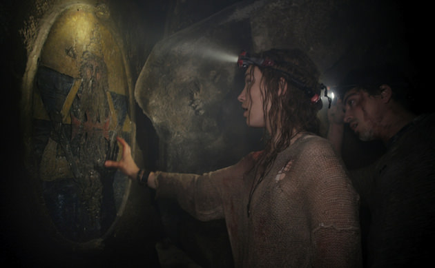(L-r) Drew Dowdle and John Erick Dowdle at one of the entrances to the catacombs. Courtesy Universal Pictures.