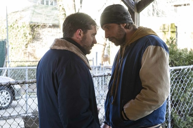 "Tom Hardy as ""Bob"" and Matthias Schoenaerts as ""Eric Deeds"" in THE DROP.   Photo by Barry Wetcher.   Copyright © 2014 Twentieth Century Fox."