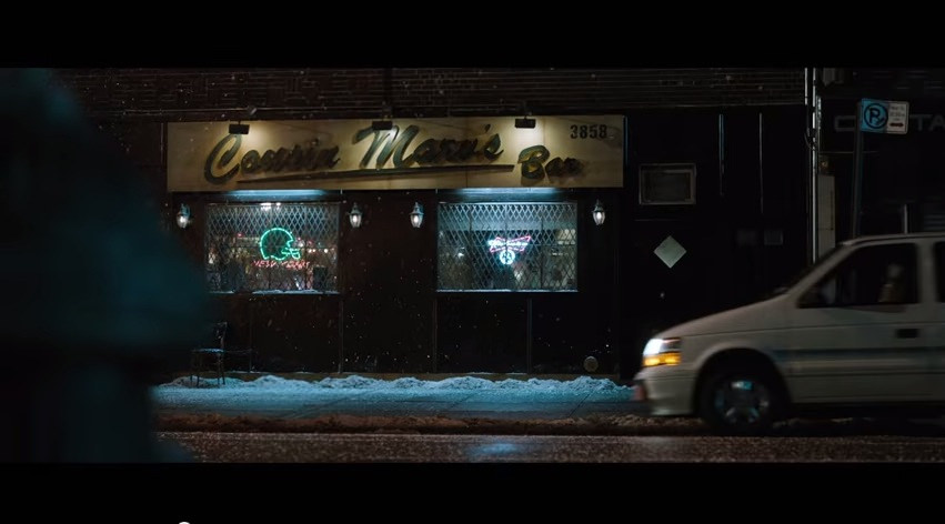 Cousin Marv's Bar was actually a composite of three Brooklyn bars, with the exterior taken from 'The Park Tavern.' Courtesy Fox Searchlight.