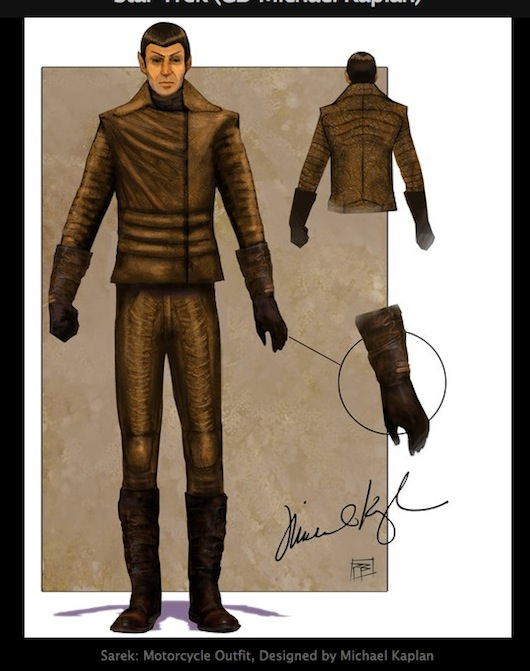 Spock's motorcycle outfit. Illustrated by Phillip Boutte Jr., designed by Michael Kaplan.
