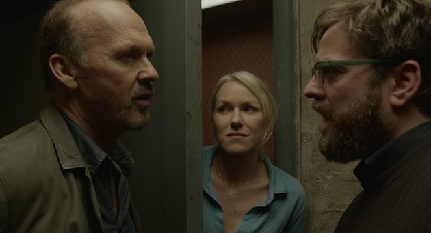 "Michael Keaton as ""Riggan,"" Naomi Watts as ""Lesely"" and Zach Galifianakis as ""Jake"" in BIRDMAN. Courtesy of Fox Searchlight Pictures. Copyright © 2014 Twentieth Century Fox"