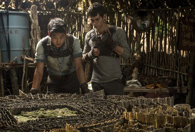 Minho (Ki Hong Lee, left) and Thomas (Dylan O'Brien, right) devise an escape plan.  Ph: Ben Rothstein. Courtesy Twentieth Century Fox
