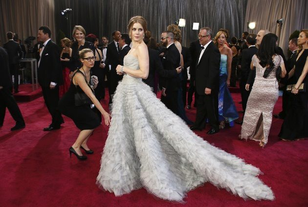 Amy Adams in an Oscar de la Renta dress at the Academy Awards.