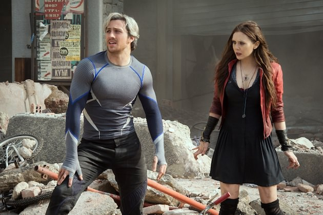 Quicksilver/Pietro Maximoff (Aaron Taylor-Johnson) and Scarlet Witch/Wanda Maximoff (Elizabeth Olsen
