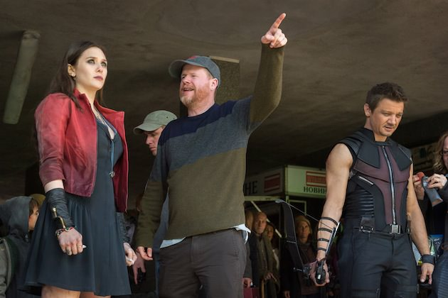 Marvel's Avengers: Age Of Ultron..Elizabeth Olsen (Scarlet Witch/Wanda Maximoff), Director Joss Whedon, and Jeremy Renner (Hawkeye) on set.