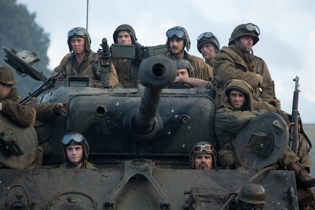Wardaddy (Brad Pitt) and other soliders in Columbia Pictures' FURY.