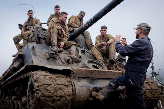 Shia LeBeouf, Logan Lerman, Brad Pitt, Michael Pena, Jon Bernthal with Director David Ayer on the set of Columbia Pictures' FURY.