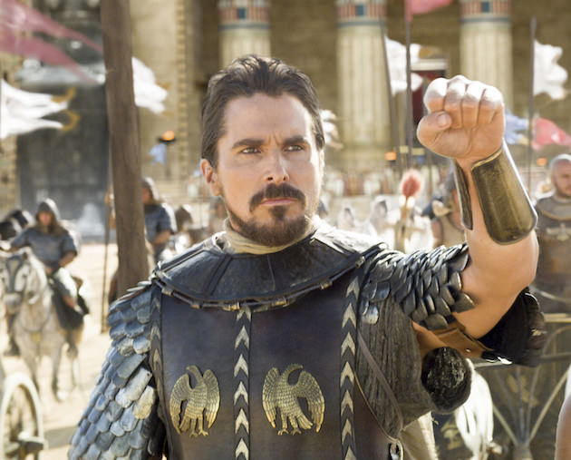 Moses (Christian Bale) prepares to lead the Egyptians into battle, with a little help from his subtly darkened eyes. Courtesy 20th Century Fox