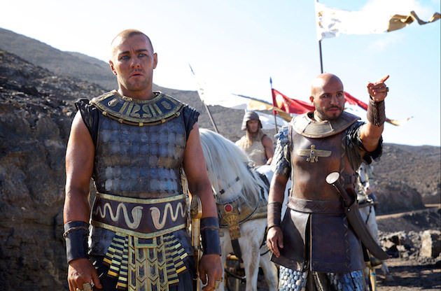 Rameses (Joel Edgerton) and Commander Khyan (Dar Salim) prepare to pursue Moses and the Hebrews. Courtesy 20th Century Fox.