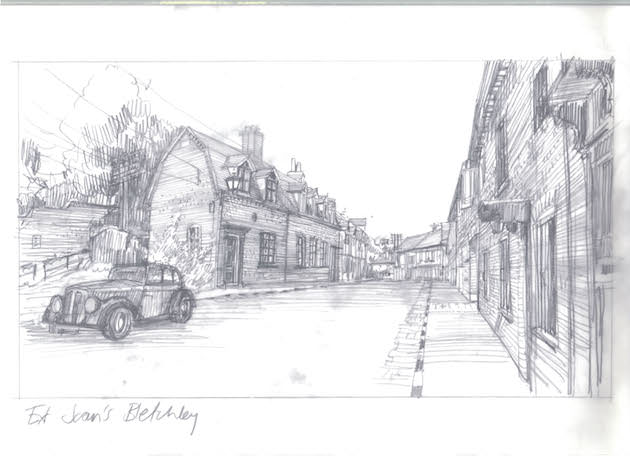 A sketch of the exterior of Joan's (Keira Knightley) apartment in Bletchley Village. Courtesy The Weinstein Co.