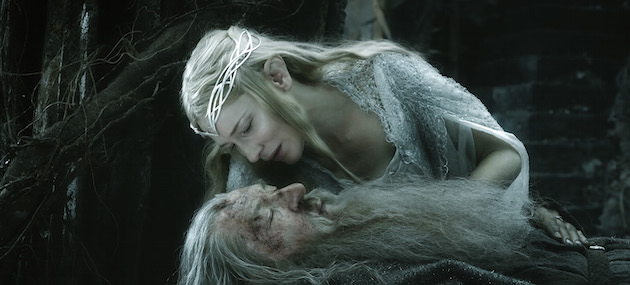 Galdriel (Cate Blanchett) enters Dol Guldur in a gown, her ethereal presence contrasting with the dark, rotting set. Courtesy Warner Bros. Picturs.