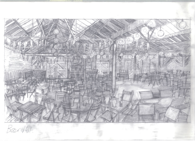 Djurkovich's sketch for Bletchley Park's beer hut. Courtesy The Weinstein Co.