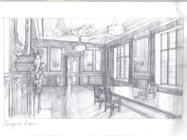 Djurkovic's sketch for the Enigma Room, where Alan Turing gets his first glimpse at one of Germany's Enigma machines, sitting on the center of the table. Courtesy The Weinstein Co.