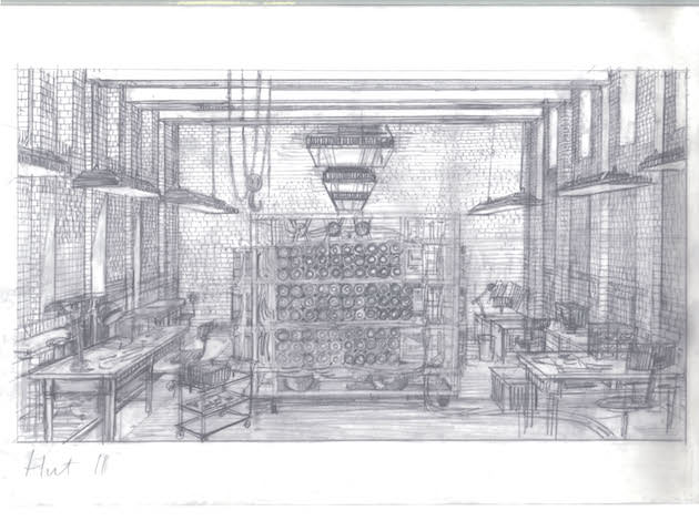 A sketch of the completed Christopher in Hut 11. Courtesy The Weinstein Co.