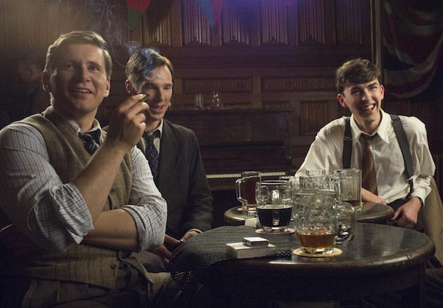 L-r: John Cairncross (Allen Leech), Alan Turing (Benedict Cumberbatch) and Hugh Alexander (Matthew Beard) in the beer hut. Courtesy The Weinstein Co.