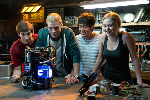 Left to right: Sam Lerner is Quinn Goldberg, Jonny Weston is David Raskin, Allen Evangelista is Adam Le, and Virginia Gardner is Christina Raskin in PROJECT ALMANAC, from Insurge Pictures, in association with Michael Bay. AL-09918
