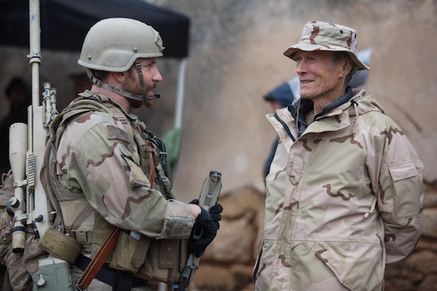 Bradley Cooper and Clint Eastwood on the set of 'American Sniper.' Courtesy Warner Bros. Pictures.
