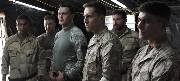 "L-r: Cory Hardict as ""D"" Dandridge, Joel Lambert as Delta Sniper, Owain Yeoman as Ranger One, Tony Nevada as Recon Sniper, Bradley Cooper as Chris Kyle and Brett Edwards as Recon Gunner. Courtesy Warner Bros. Pictures"