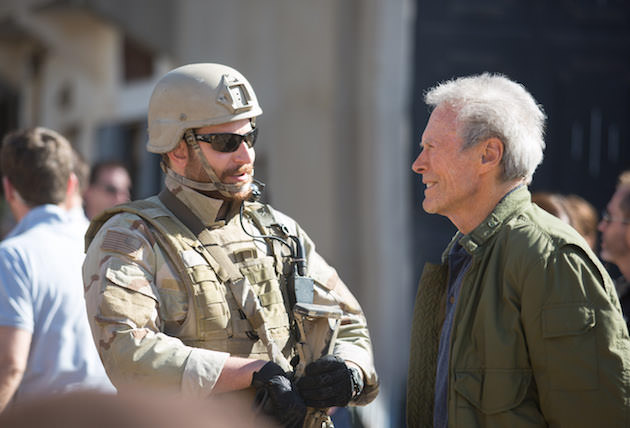 Cooper and Eastwood on the set of 'American Sniper.' Courtesy Warner Bros. Pictures.