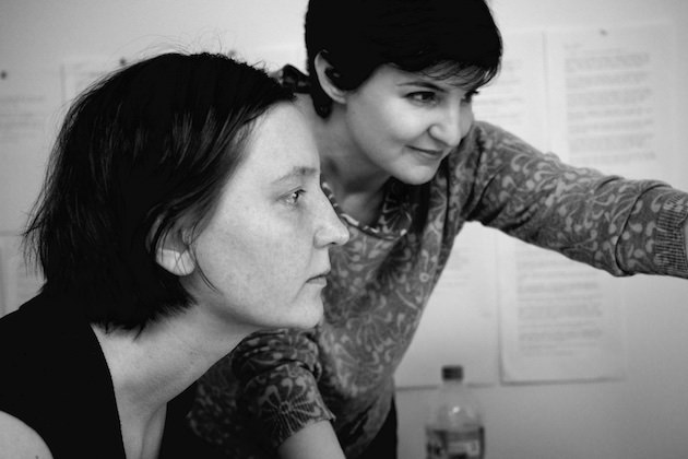 L-r: post production supervisor Maria Frycz & editor Mathilde Bonnefoy. © Laura Poitras 2014