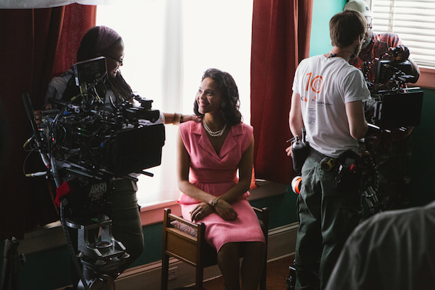Left to right: Director/Executive Producer Ava DuVernay discusses a scene with Carmen Ejogo (as Coretta Scott King) on the set of SELMA, from Paramount Pictures, Pathé, and Harpo Films. SEL-10001