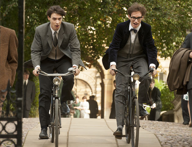 (L to R) Harry Lloyd stars as Brian and Eddie Redmayne stars as Stephen Hawking in Academy Award winner James Marsh's THE THEORY OF EVERYTHING, a Focus Features release. Photo Credit: Liam Daniel / Focus Features
