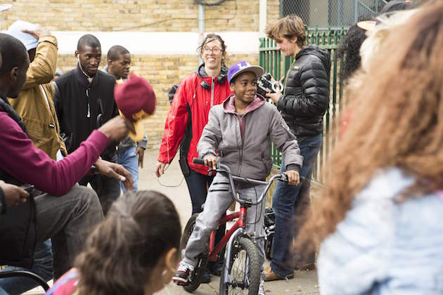 Writer/director Rebecca Johnson on the set of 'Honeytrap,' in Brixton, South London. Courtesy Honeytrap.