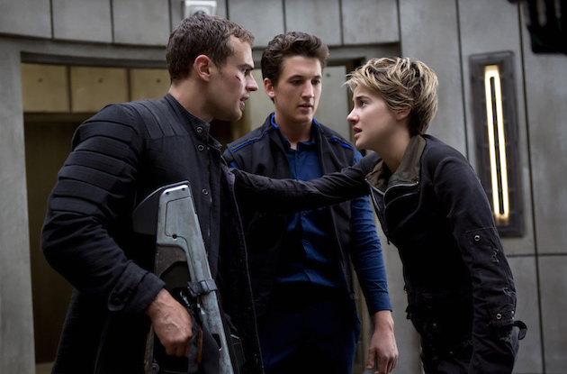 L-r: Theo James, Miles Teller and Shailene Woodley in 'Insurgent.' Courtesy Lionsgate Films