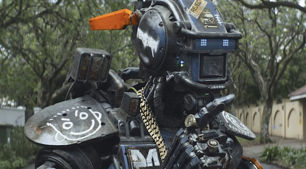 Chappie (Sharlto Copley) Courtesy Columbia Pictures.