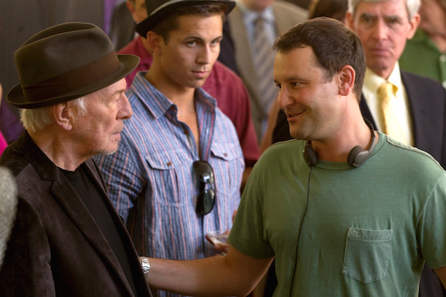 (l to r) Academy Award winning Actor Christopher Plummer and writer / director Dan Fogleman (center) on the set of drama DANNY COLLINS, a Bleecker Street Productions.