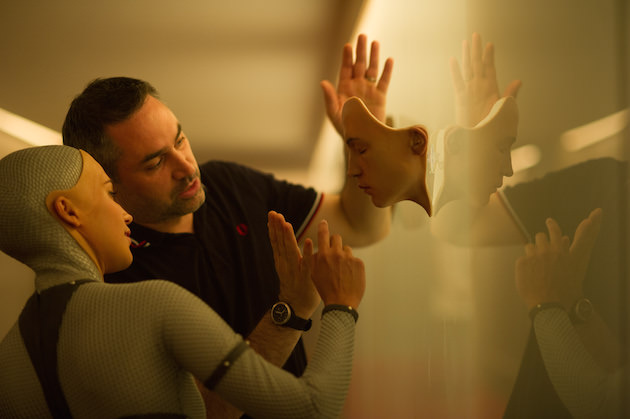 Alicia Vikander plays Ava, here with writer/director Alex Garland. Courtesy A24.