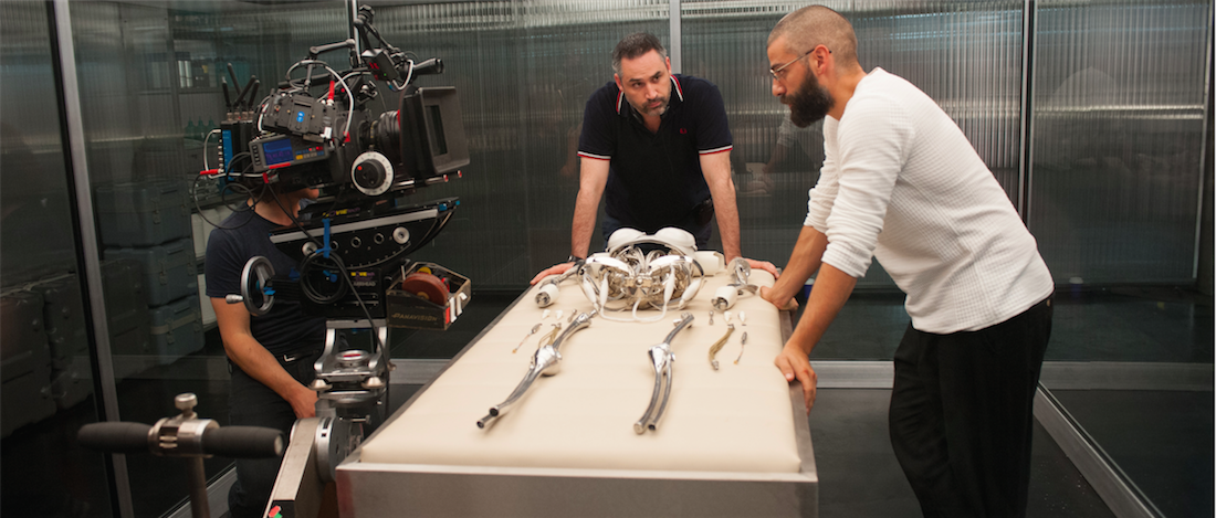 Alex Garland and Oscar Isaac on the set of 'Ex Machina.' Courtesy A24.