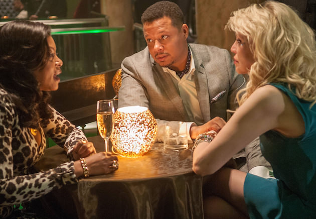 "EMPIRE: Lucious (Terrence Howard, C) introduces Elle Dallas (guest star Courtney Love, R) to Cookie (Taraji P. Henson, L) in the ""Out Damned Spot"" episode of EMPIRE airing Wednesday, Feb. 11 (9:01-10:00 PM ET/PT) on FOX. ©2015 Fox Broadcasting Co. CR: Matt Dinnerstein/FOX"