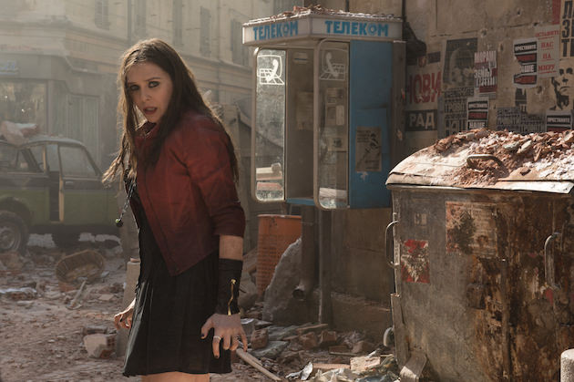 Scarlet Witch/Wanda Maximoff (Elizabeth Olsen) in a scene that's set in a fictional Eastern European town, shot in northern Italy and England, depending on where they were in the scene. Courtesy Marvel Studios